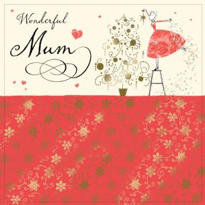 Mum Christmas Card with Gold Foiling, Contemporary Design and Red Envelope KIS18